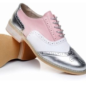 Women's leather Pink silver white shoes